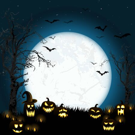 spooky halloween dead tree with some scary pumpkins in front of an full moon with bats Stock Illustratie