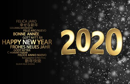 happy new year 2020 greetings with golden numbers and black background Vektorgrafik