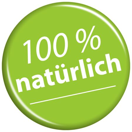 vector with round green colored magnet with text 100% natural (in german)