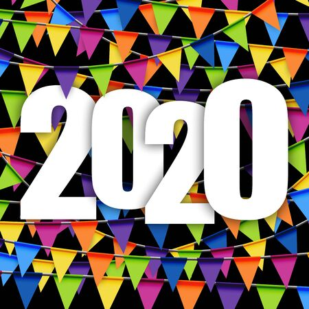 background with colored garlands for New Year party 2020