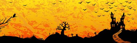 dark castle in front of flaming sky with scary illustrated elements for Halloween background layouts