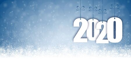 background with snow fall and greetings for christmas and New Year 2020 Ilustrace