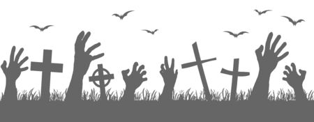 vector file seamless silhouette with zombie hands, grave stones and scary bats for Halloween background layouts
