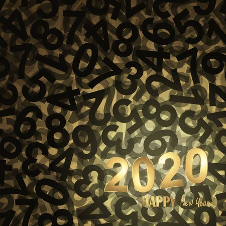 black and golden background with new year 2020 greetings Ilustração