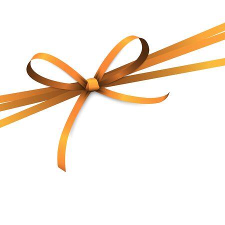 vector illustration of orange colored ribbon bow isolated on white background