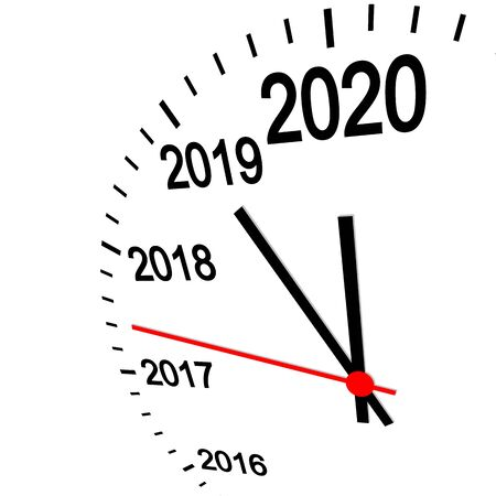three dimensional clock showing New Year 2020 at 12 o'clock Vectores