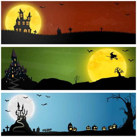 collection of panorama backgrounds with dark castle and witch in front of full moon with scary illustrated elements for Halloween layouts Stock Illustratie