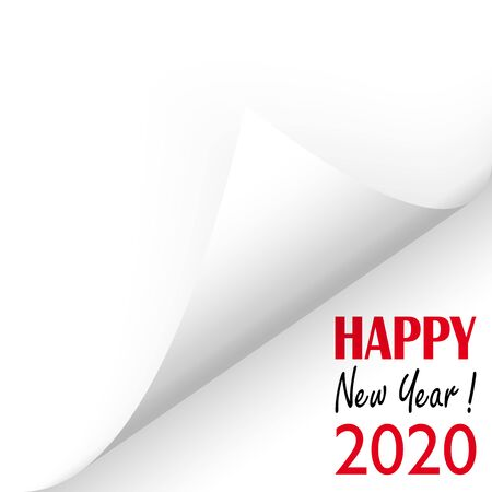 turned over white paper corner showing 2020 and text Happy New Year