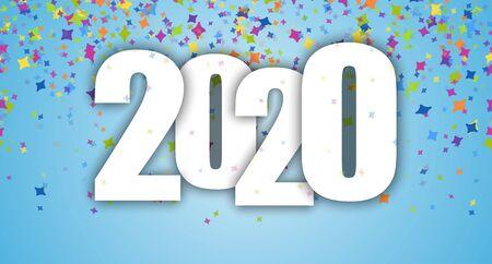 blauer Hintergrund mit farbigem Konfetti für die Neujahrsparty 2020