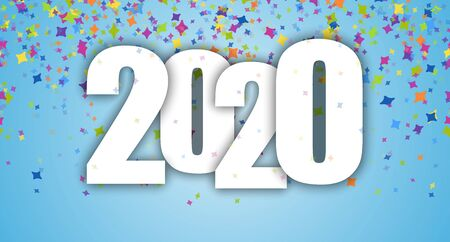 blue background with colored confetti for New Year party 2020