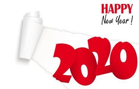 aufgerissenes Whitepaper mit 2020 und Text Frohes neues Jahr