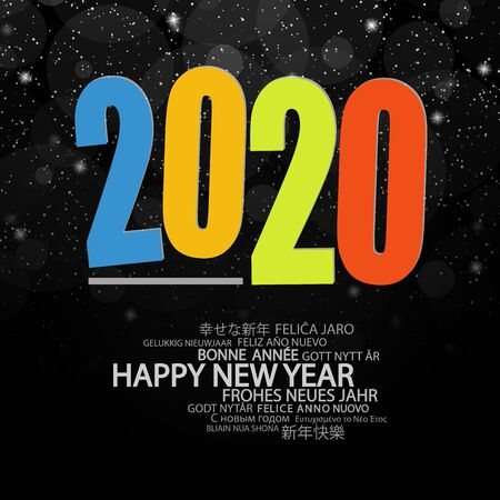 colored background concept for New Year 2020 greetings with falling snow