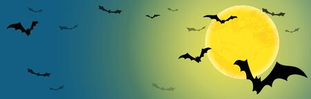 spooky dark bats in front of a full moon with free text space for Halloween background layouts Banque d'images - 130842731