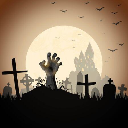 Mano de zombi frente a un castillo y una luna llena con lápidas y otros elementos ilustrados de miedo para diseños de fondo de Halloween