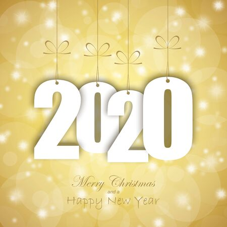 white colored hang tag numbers for New Year 2020 Vektorgrafik