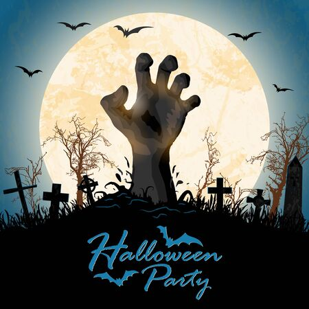 zombie hand in front of full moon with grave stones and other scary illustrated elements for Halloween background layouts 向量圖像