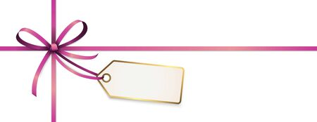 EPS 10 vector illustration of purple colored ribbon bow with hang tag and free text space isolated on white background