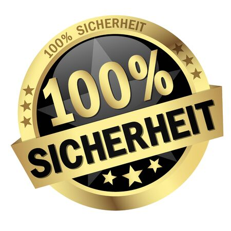 round colored button with banner and text 100% Sicherheit Ilustrace