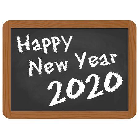 greetings on school slate with text Happy New Year 2020 Vektorgrafik