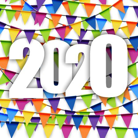 background with colored garlands for New Year party 2020 Ilustracja