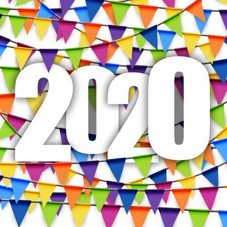 Hintergrund mit farbigen Girlanden für Silvesterparty 2020