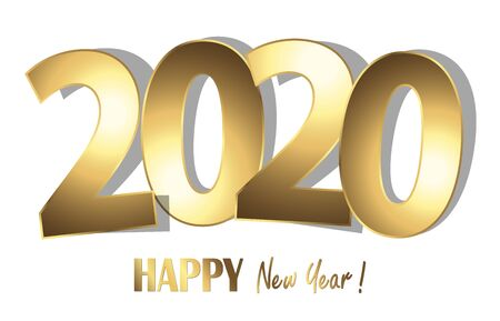 happy new year 2020 greetings with golden numbers and white background