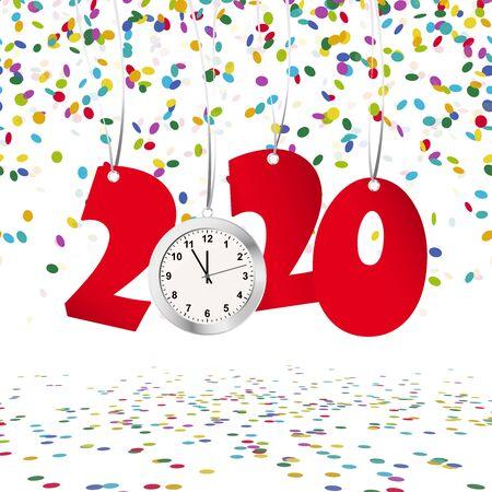 rote Zahlen, die Neujahr 2020 mit silberner Uhr und Konfettihintergrund zeigen