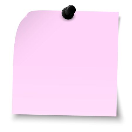 vector illustration of colored sticky note with pin needle Stock Illustratie