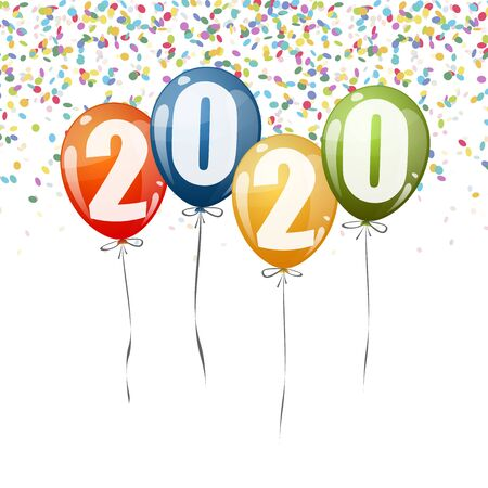 confetti and colored balloons with numbers for New Year 2020 Illustration
