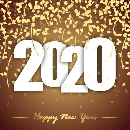 farbiger Hintergrund mit goldenem Konfetti für die Silvesterparty 2020