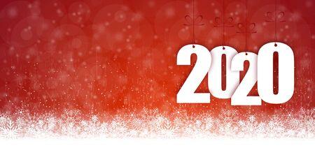 Hintergrund mit Schneefall und Grüßen zu Weihnachten und Neujahr 2020 Vektorgrafik