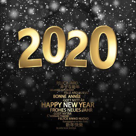 Frohes neues Jahr 2020 Grüße mit goldenen Zahlen und schwarzem Hintergrund