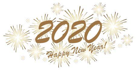 goldenes Feuerwerkskonzept für Neujahrsgrüße 2020 mit weißem Hintergrund