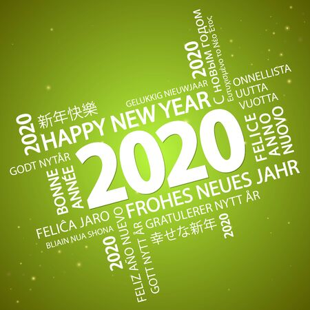 word cloud with new year 2020 greetings and green background Vektorgrafik