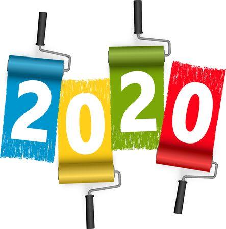 Vierfarben-Farbroller-Konzept für das neue Jahr 2020