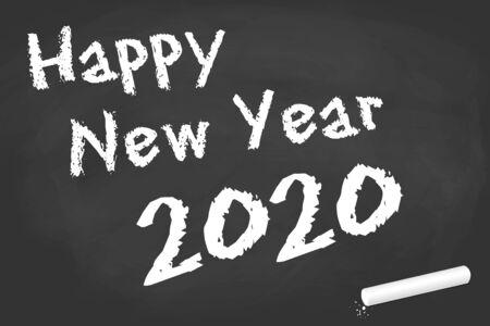 Schwarzes Brett mit Kreide und Text für Neujahrsgrüße 2020