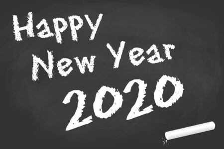 black board with chalk and text for New Year 2020 greetings