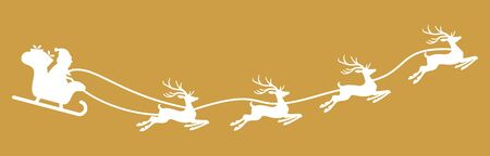 white Santa Claus with sled and reindeers isolated on colored background  イラスト・ベクター素材