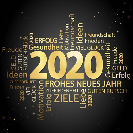 word cloud with new year 2020 greetings colored gold and black background Vektorgrafik