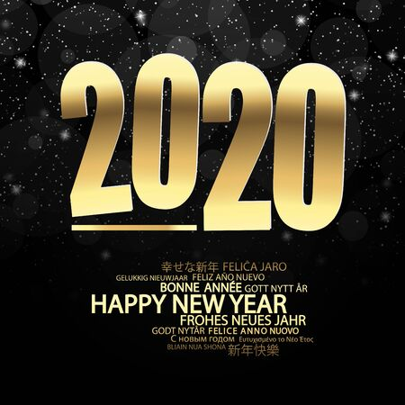 golden colored background concept for New Year 2020 greetings with falling snow Vektorgrafik