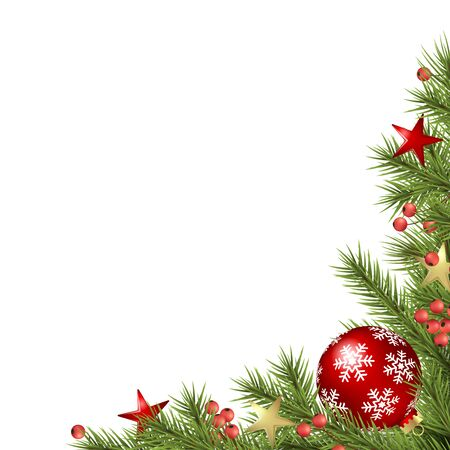 vector background concept with decorated green fir branches with christmas bauble, stars and red berries and free space for text
