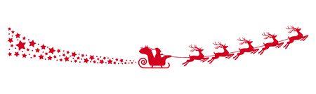 Weihnachtsmann mit Schlitten, Rentieren und einigen Schneeflocken auf weißem Hintergrund