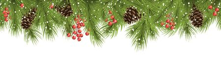vector seamless background concept with fir branches, cones and white backdrop for christmas time Vektorové ilustrace