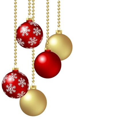 vector hanging christmas baubles with snow flakes background concept and free space for text