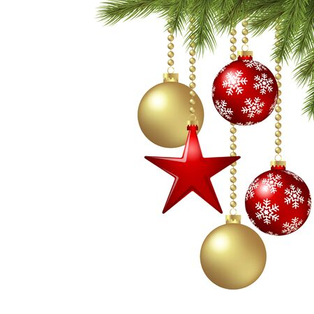 vector hanging christmas baubles background concept with fir branches, red hanging star and free space for text
