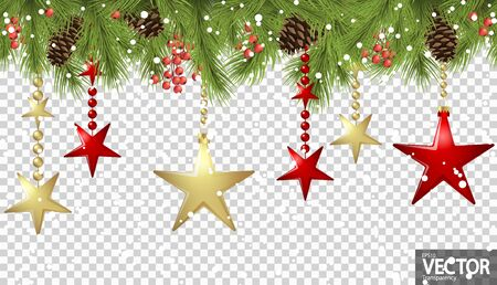 vector seamless background concept with fir branches and bones, hanging red and golden christmas stars and falling snow flakes with transparency in vector file