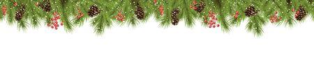 Vektor nahtlose Hintergrundkonzept mit Tannenzweigen und Zapfen, goldenen Sterngirlanden und Schneefall