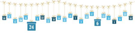 hanging christmas presents colored blue with numbers 1 to 24 showing advent calendar for xmas and winter time concepts panorama style
