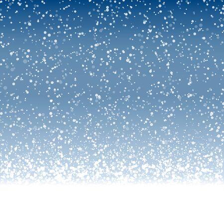 archivo vectorial con hermosos copos de nieve cayendo sobre fondo de color azul Ilustración de vector