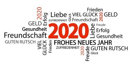 Wortwolke mit Neujahrsgrüßen 2020 und weißem Hintergrund